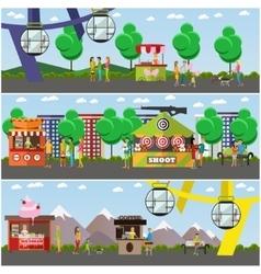 set of amusement park concept posters vector image