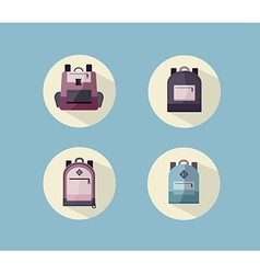 Set of Backpack with Long Shadow vector image