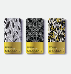 Set Of Golden Chocolate Bars Black White vector image