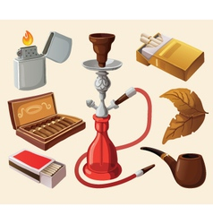 Set of traditional smoking devices vector