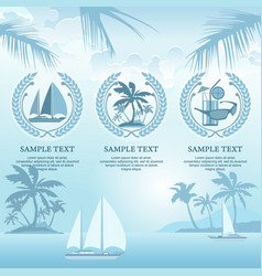 Set of travel symbols in blue vector