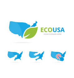 set of usa logo combination america and eco vector image