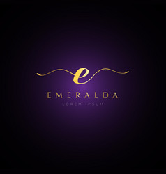 simple elegance initial letter e logo type sign vector image