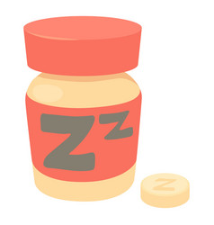 Sleeping pills icon cartoon style vector