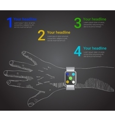 smart watch infographic in style vector image
