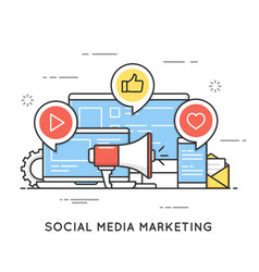 social media marketing smm network communication vector image