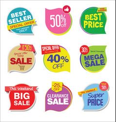 Super sale discount tags and stickers collection 2 vector
