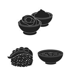 sushi and seasoning black icons in set collection vector image