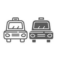 taxi line and glyph icon transport and car cab vector image