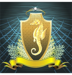 The Seahorse shield vector image