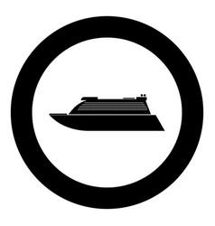 transatlantic cruise liner black icon in circle vector image vector image