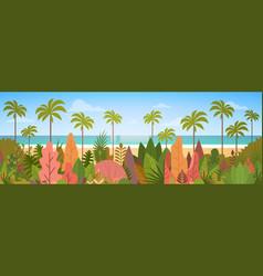 Tropical beach island palm tree ocean summer vector