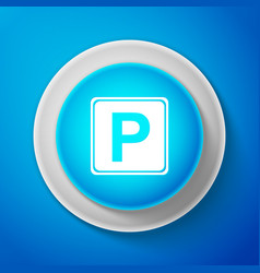 white parking sign isolated street road sign vector image