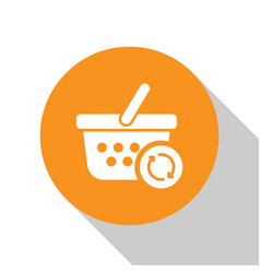 White refresh shopping basket icon isolated on vector