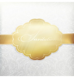 white vintage invitation with golden label vector image