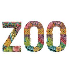 Word zoo decorative zentangle object vector
