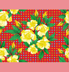 yellow rose flowers green leaves seamless red vector image