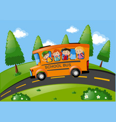 children riding on school bus in the park vector image