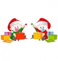 Christmas twins open gift vector image vector image