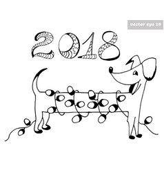 dog with garland vector image vector image
