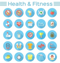 Modern Flat Fitness and Wellness Icons vector image