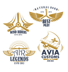 retro icons for aviation airplane pilots vector image