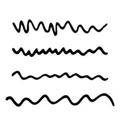 Strokes marker set Abstract wavy line black vector image
