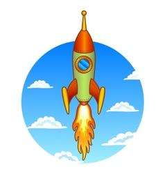Vintage old rocket on a sky background vector image