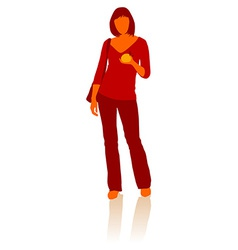 Young Girl with bag and fresh apple in hand vector image