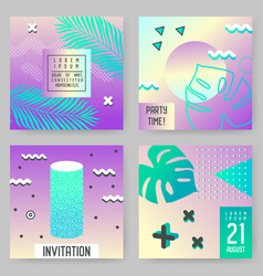 abstract tropical poster templates set with palms vector image vector image
