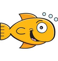 Cartoon smiling goldfish vector image