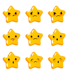 emotional stare negative faces smiles set vector image