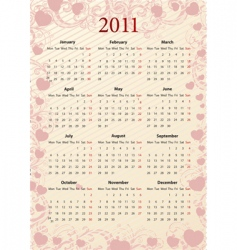 European pink calendar 2011 vector image vector image