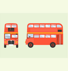 red double-decker london bus icon in front and sid vector image vector image