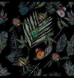 seamless pattern with leaves and butterfly vector image
