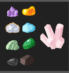 semi precious gemstones stones and mineral stone vector image