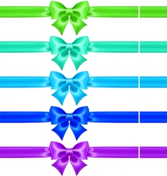 Silk bows in cool colors with ribbons vector image vector image