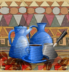 Vintage card with a set of objects for a coffee vector image vector image