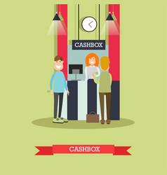 Bank cashbox concept in flat vector