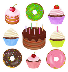 big set of cakes vector image vector image