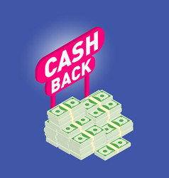 cash back cash back isometric 3d icon with money vector image vector image