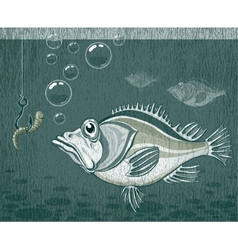 Fish and worm vector image