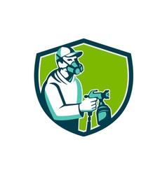 Spray Paint Gun Painter Spraying Shield Retro vector image vector image