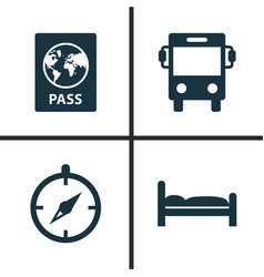 Traveling icons set collection of certificate vector