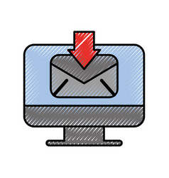 computer receive email communication download vector image