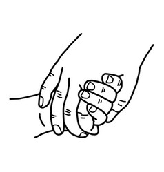 hand of a child and mother holding vector image vector image