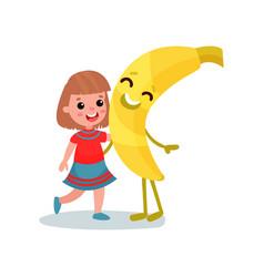 happy little girl hugging giant smiling banana vector image