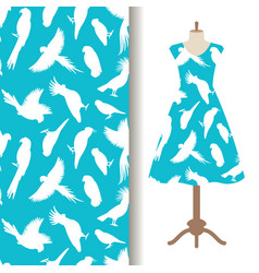 womens dress fabric pattern with birds vector image vector image