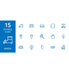 15 snack icons vector image
