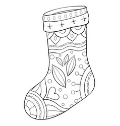 Adult coloring bookpage a christmas stocking with vector